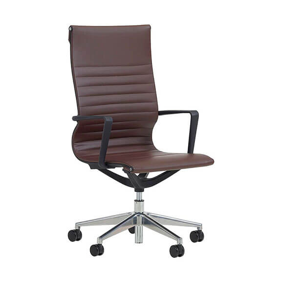 verco flux leather brown, high back with ribbed seat and back with chrome base and black armrests