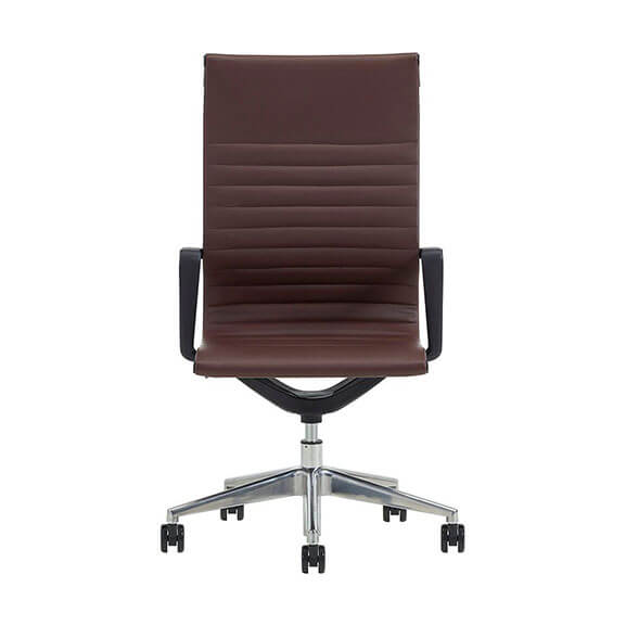 Brown flux leather flux chair verco, high back with chrome spider base and black armrests