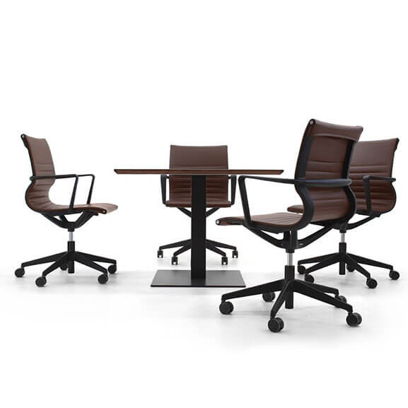 Verco flux brown faux leather ribbed chair with black nylon base and armrests medium back