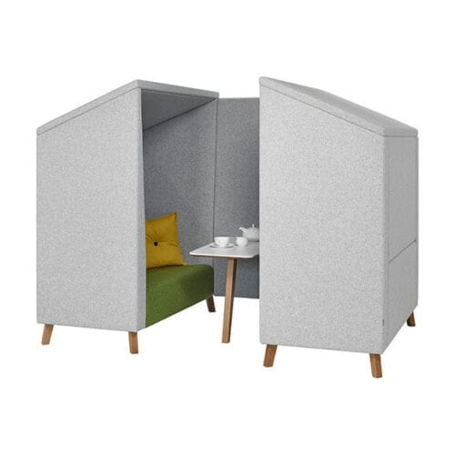 Jensen shelter high back acoustic seating in green, grey and yellow. Wooden featured legs 4 person booth