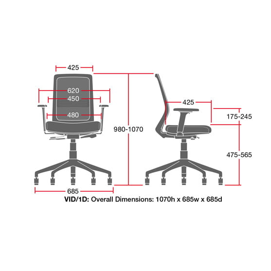 Diagram of Vida Mesh Chair Sizes