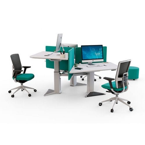 Power Height Adjustable Workstation in white and green