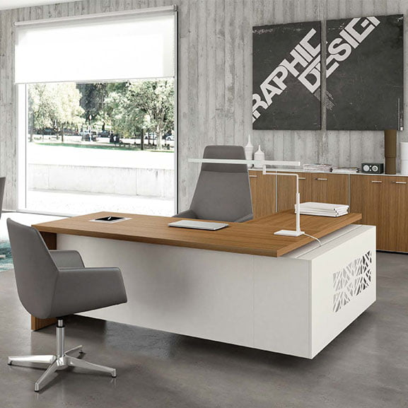 T45 Executive Desk in White and Walnut