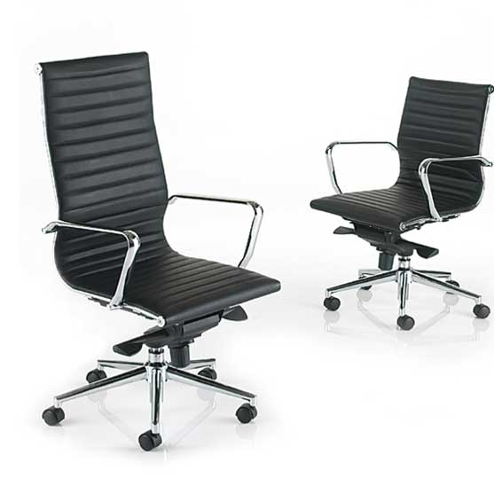 Aria Black Leather medium and High Back Chairs