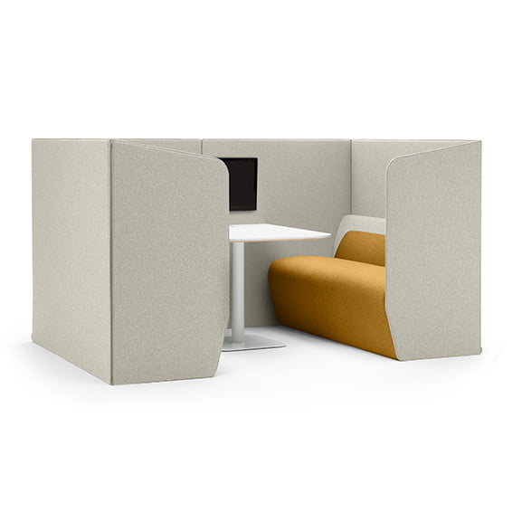 Boss hemm high back sofa booth in yellow and light grey with white table and media unit