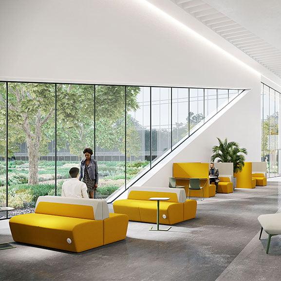 Boss hemm high back sofa booth in yellow