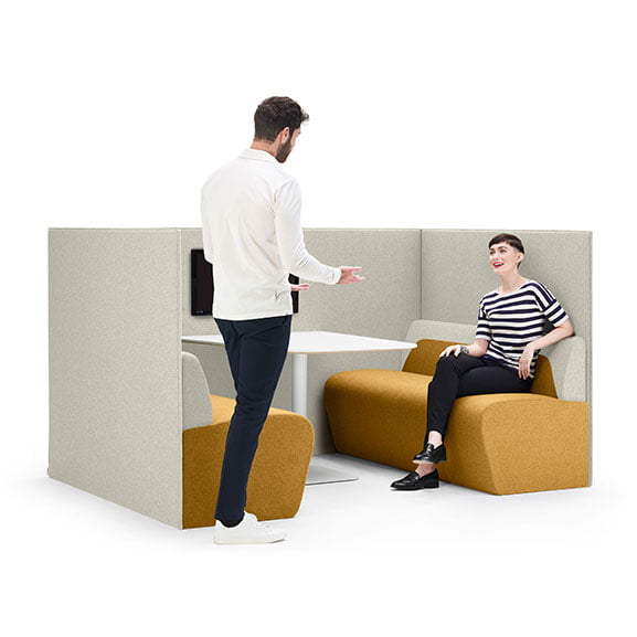 Boss hemm high back sofa booth for collaborative spaces