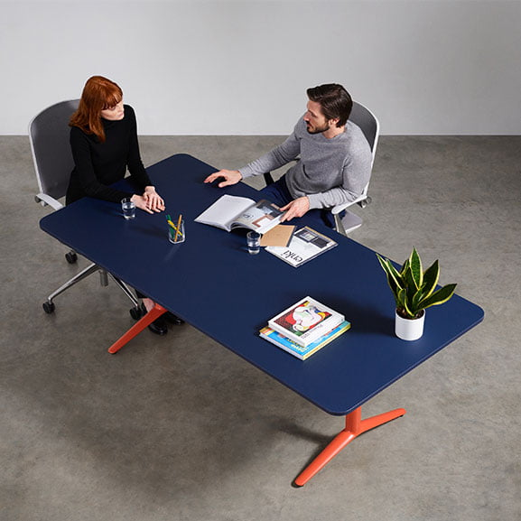 Boss indi meeting table in blue with orange legs