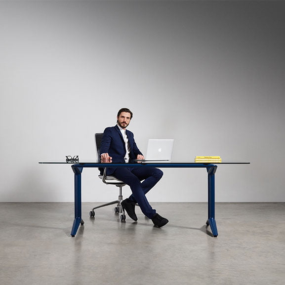 Boss indi meeting table with blue legs