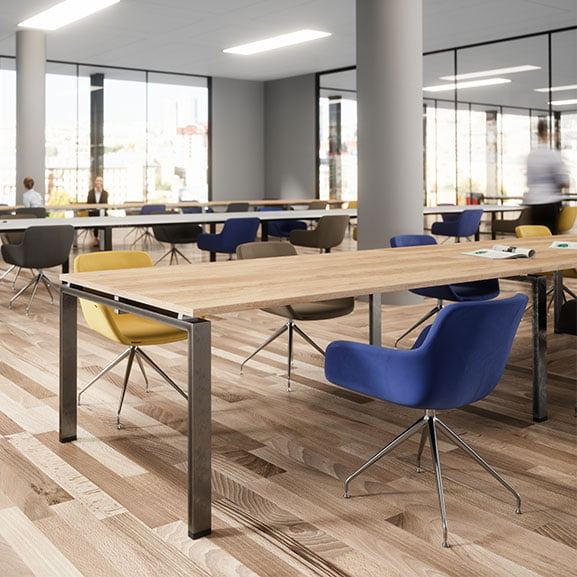 Wood with black legs buronomic astro meeting table