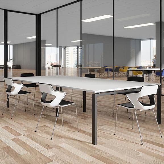 White with black legs buronomic astro meeting table