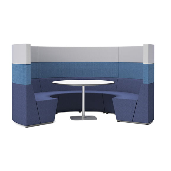90 degree connection flock high back sofa booth in blue and white with white square table