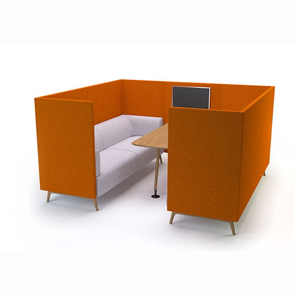 Connection tryst high back sofa booth in orange and white