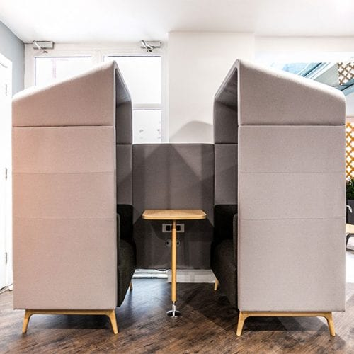 Connection tryst high back sofa booth with roof and table