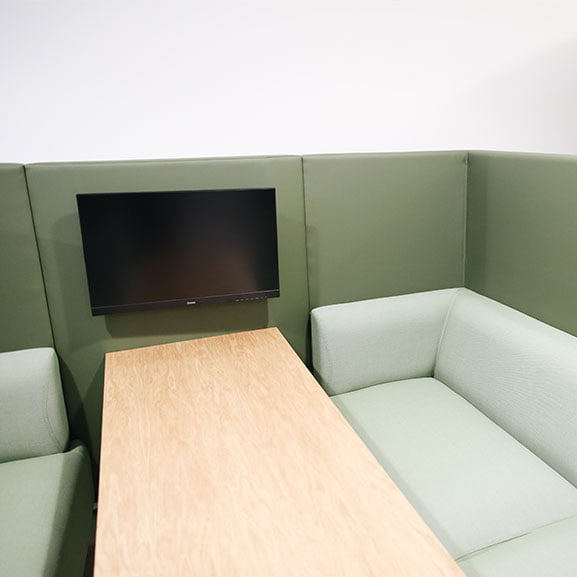 Connection tryst high back sofa with table and tv unit in green with wooden table