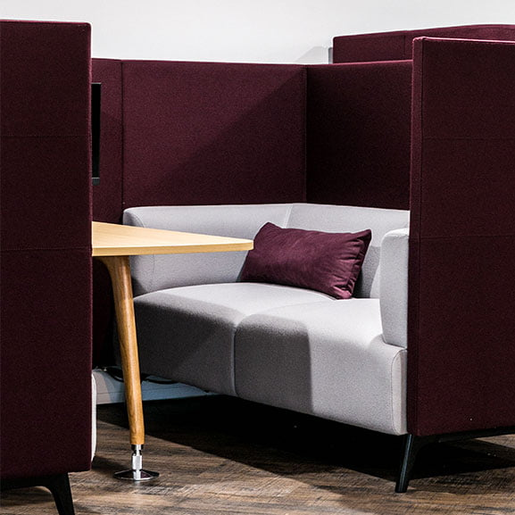 Purple and light grey connection tryst high back sofa booth