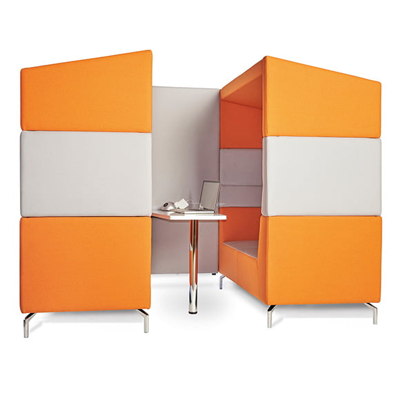 Dams alban high back sofa booth in orange and white
