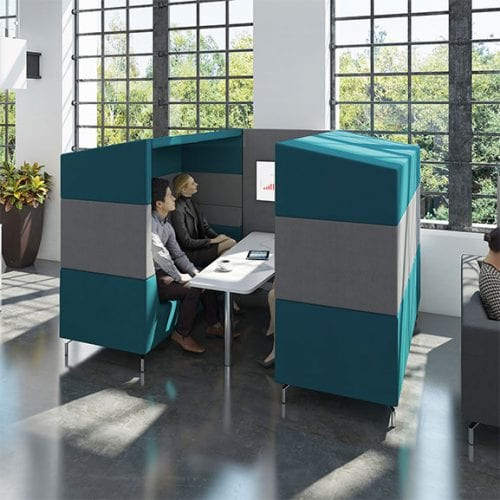 Dams alban high back sofa booth in blue and grey with meeting table and TV