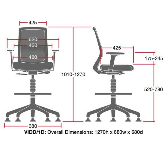 Dimesnions of Vida Draughtsman Chair