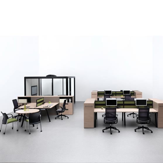 Ecoflex Mesh Chair with desk and a meeting table