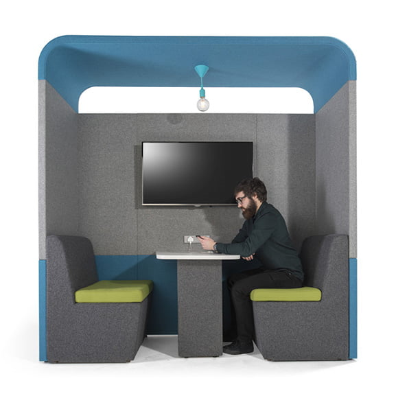 Era zen 2 person curved ceiling roof office pod in blue and grey