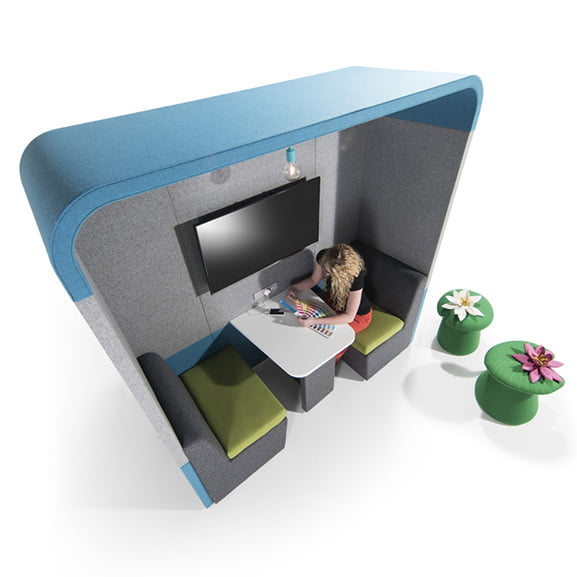 Era zen curved ceiling 2 person office pod in blue and grey