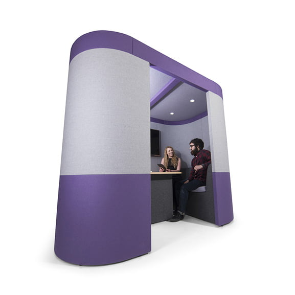 Curved era zen 2 person office pod in purple and grey