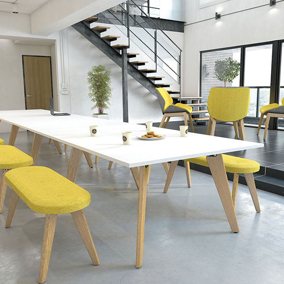 Imperial evolve meeting table white top and wooden legs