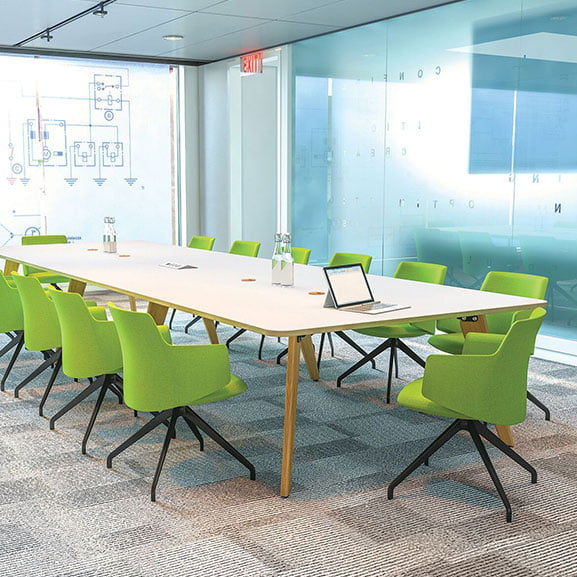 Imperial evolve meeting table white top with wooden legs green chairs