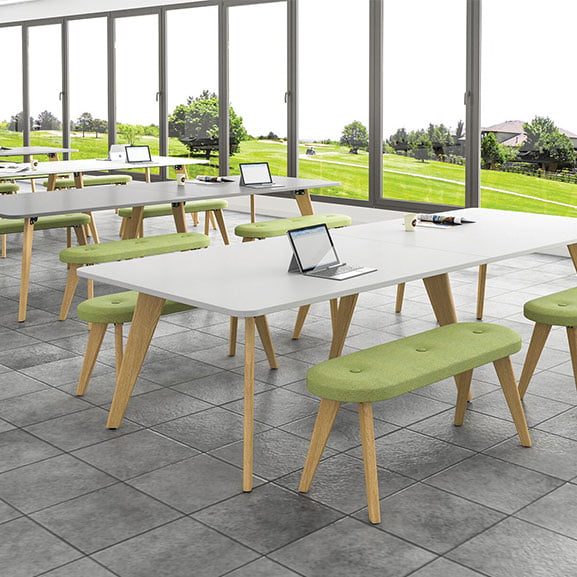 Evolve meeting table imperial with green benches