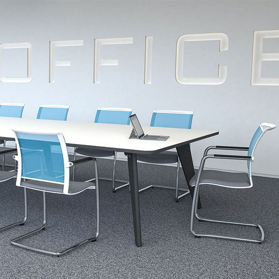 Imperial evolve table with blue cantilever meeting chairs