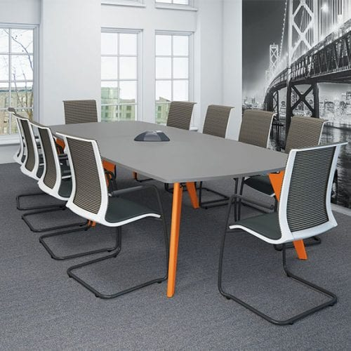 Imperial Evolve boat shaped meeting table with grey top and orange legs