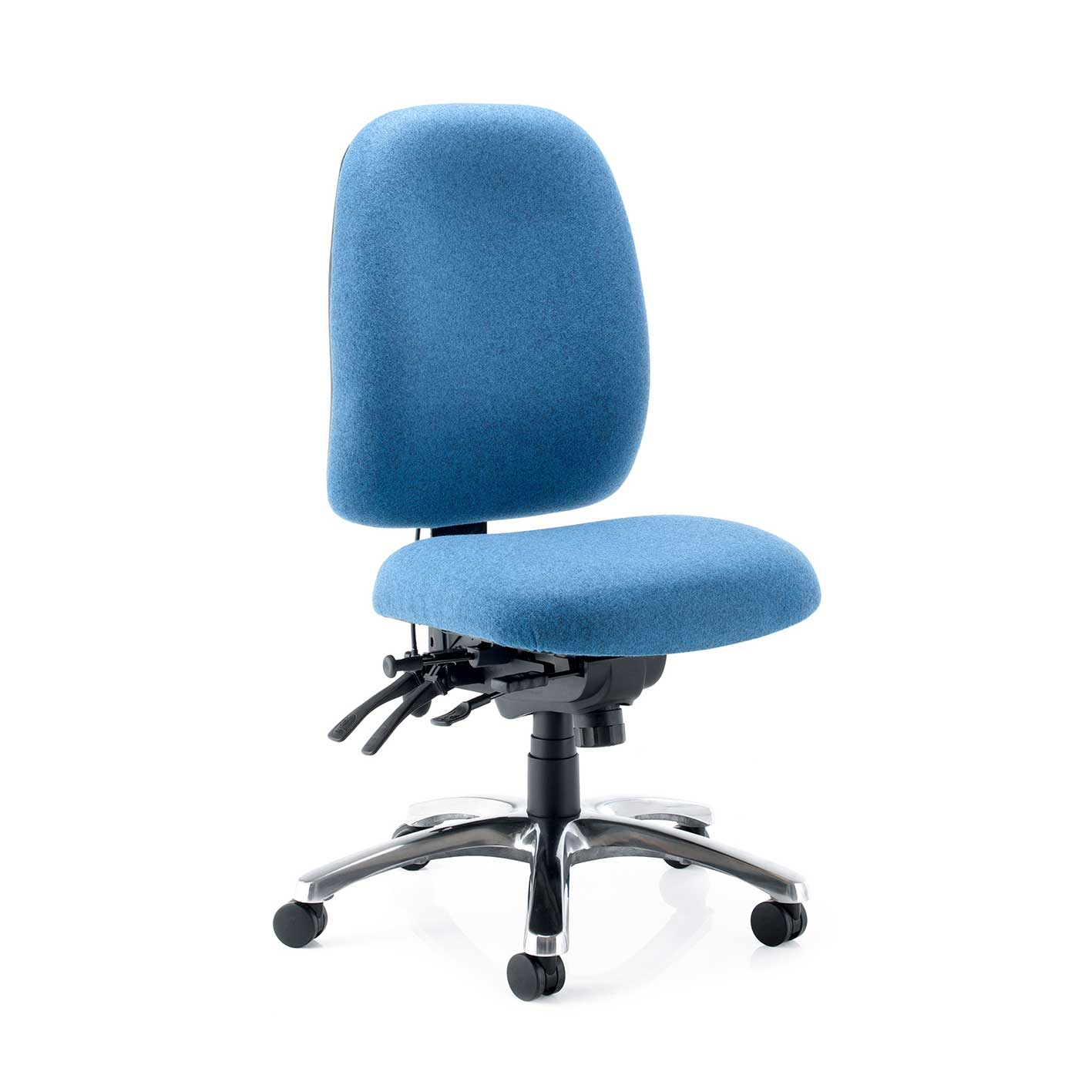 blue stellar posture chair with polished chrome base and no arms