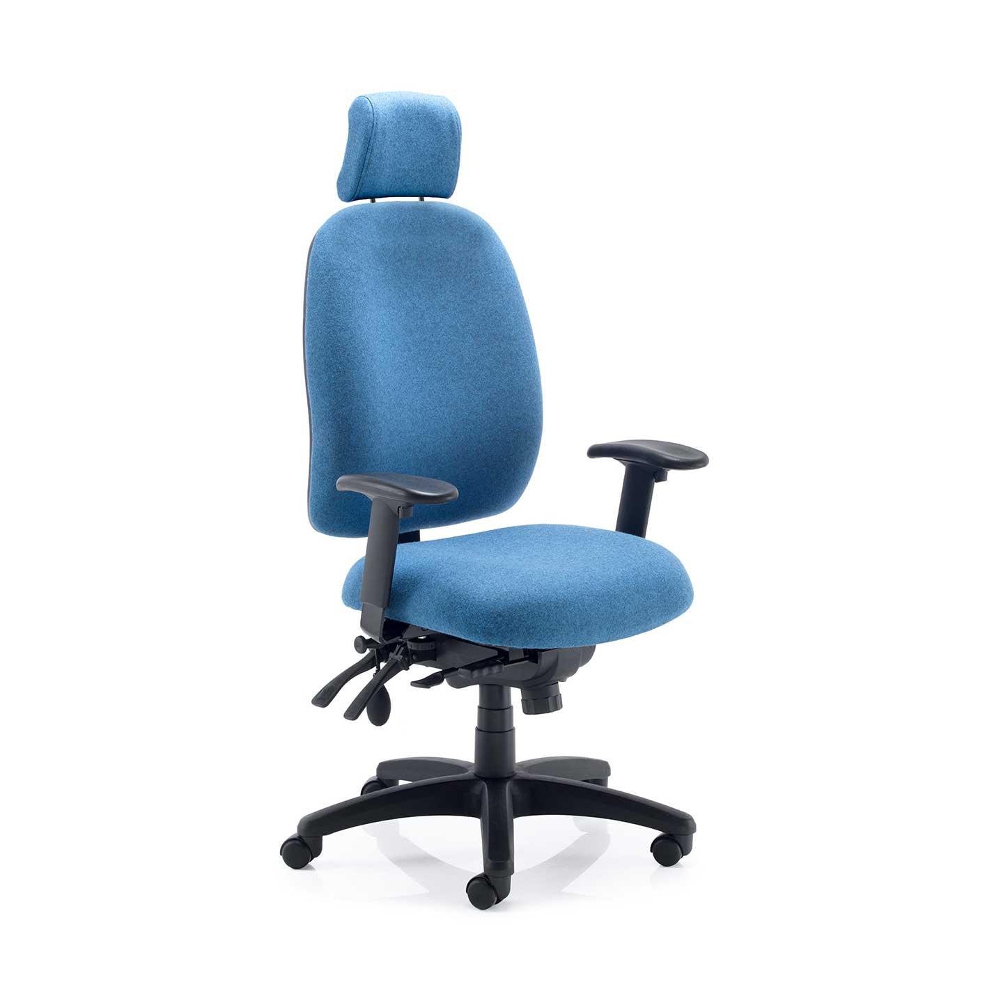 Stellar posture ergonomic chair with headrest in blue