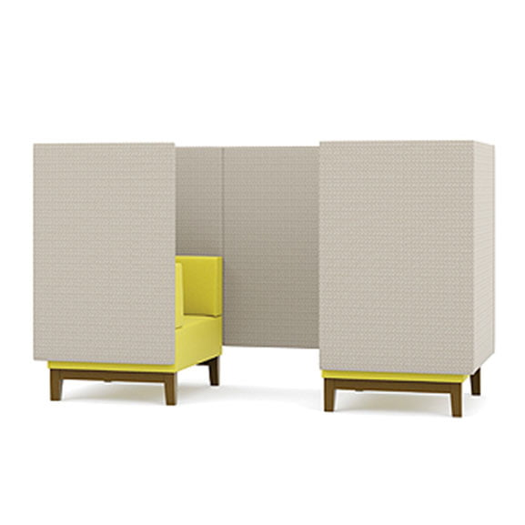 Pledge fence high back sofa booth grey and yellow with wooden legs