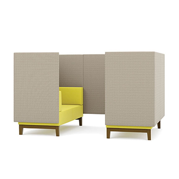 Two seater pledge fence high back sofa booth in yellow and grey with wooden legs