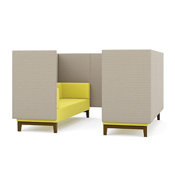 Six seater pledge fence high back sofa booth with wooden legs in yellow and grey