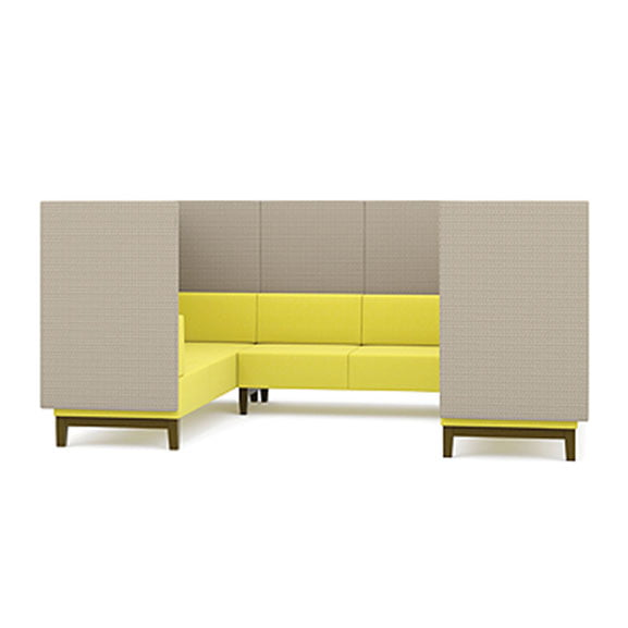 Pledge Fence U shaped high back sofa booth in yellow and grey with wooden legs