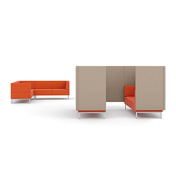 Orange and grey pledge fence high back sofa booth