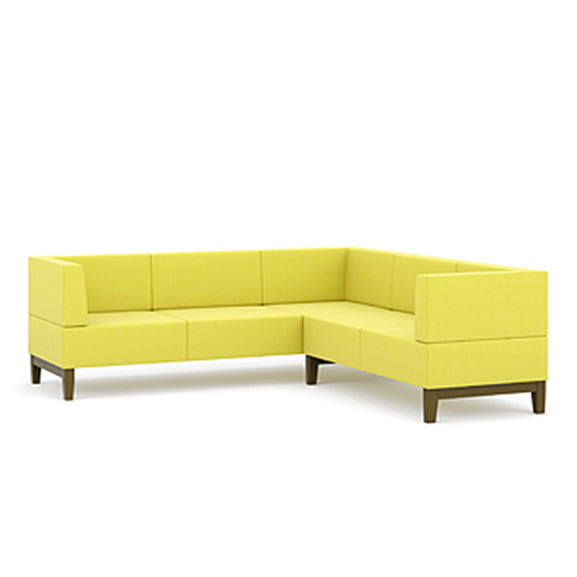 fence l shaped office and reception settee