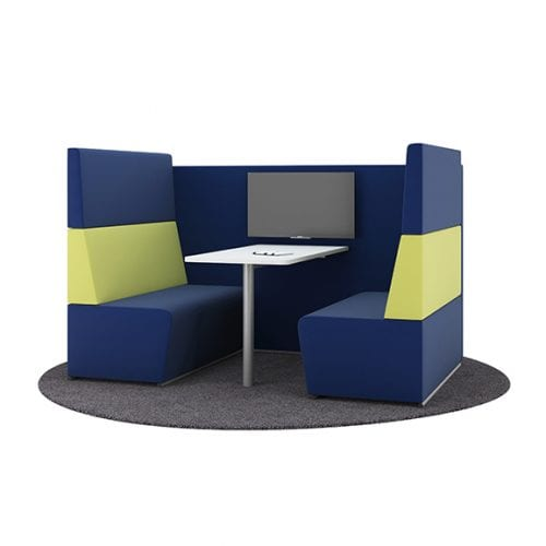 Pledge fifteen high back sofa booth in blue and yellow
