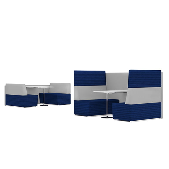 Pledge fifteen high back sofa booth in blue and grey