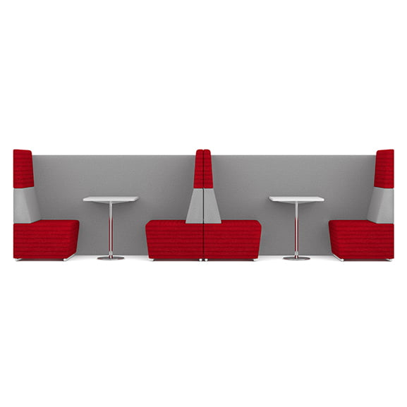 Pledge fifteen high back sofa booth in red and grey