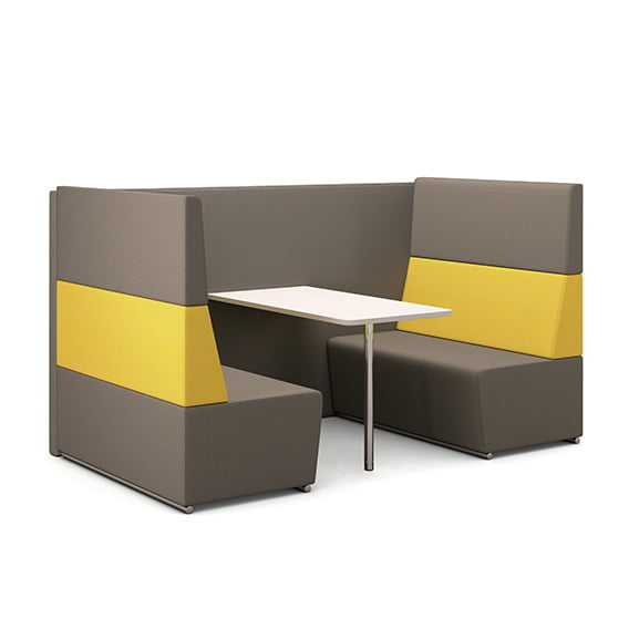 Pledge fifteen high back sofa booth in yellow and grey four seater with white meeting table
