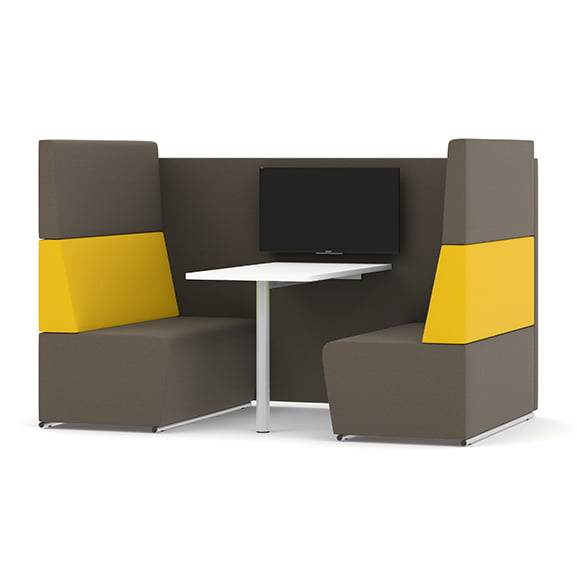 Four seater with tv pledge fifteen high back sofa booth in yellow and grey
