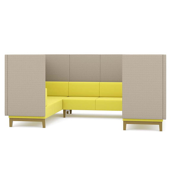fence u shaped office and reception settee