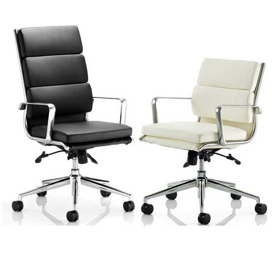 Savoy Leather Executive chair shown in Black and White