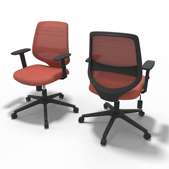 Well Orange Mesh Office Chair