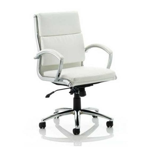 White Classic Leather Meeting Chair from Dynamic