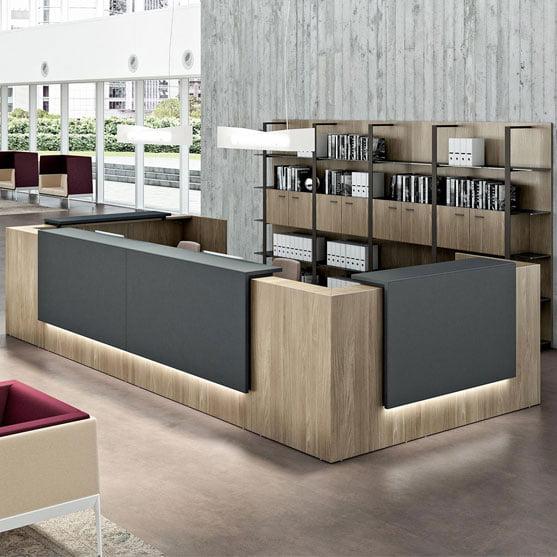 Elegant Z2 Reception Desk Black and Wood Finish